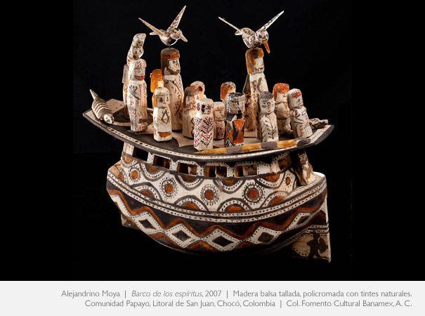 Alejandrino moya, barco de los espíritus madera balsa tallada policromada con tintes naturales, Litoral, Choco.