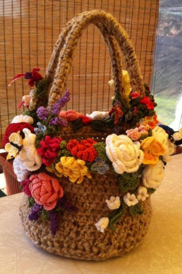 Crochet 'Spring Bouquet' bag Bag - wool, Flowers - DMC embroidery cotton, DMC Perle & Milward cotton