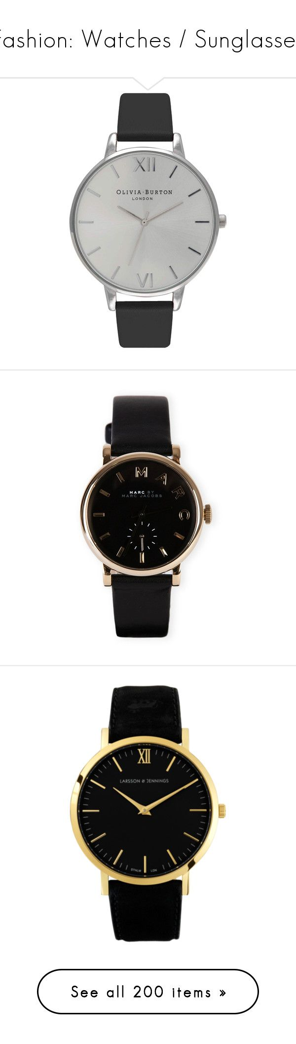 """Fashion: Watches / Sunglasses"" by katiasitems on Polyvore featuring watches, jewelry, accessories, bracelets, relojes, marc by marc jacobs watches, leather strap watches, black and gold jewelry, black gold jewelry and black and gold watches"