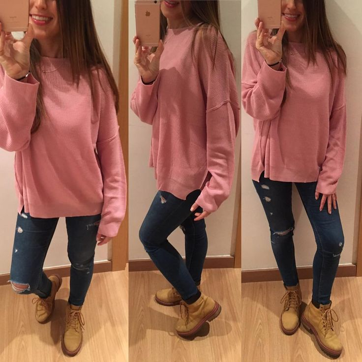 "64 Me gusta, 12 comentarios - Victoria🙋🏽❤Daisy🐶 (@vicky_joss) en Instagram: ""Look de miércoles 💗 Jersey #pullandbear (new) Jeans #zara Calzado #bershka . . . . . . . . . . . .…"""
