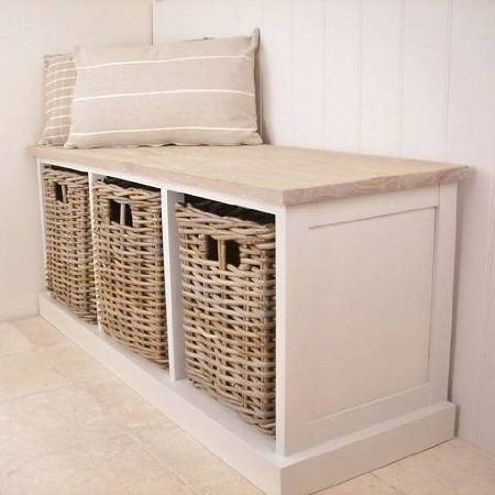 New Antique White 3 Basket Storage Unit Bench Seat