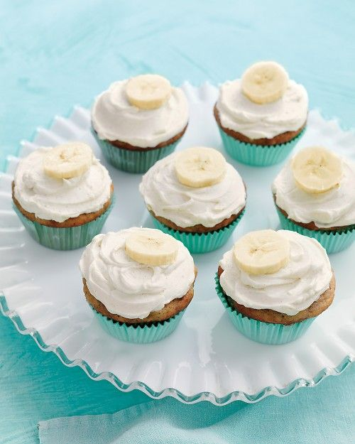 Martha Stewart banana cupcakes with honey cinnamon frosting.
