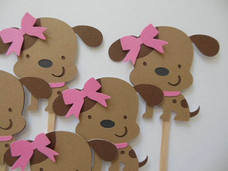 Puppy Dog Cupcake Toppers - Pink and Brown - Girl Birthday Party Decorations - Girl Baby Showers - Set of 6 by Whimsiesbykaren on Etsy https://www.etsy.com/listing/207438214/puppy-dog-cupcake-toppers-pink-and-brown