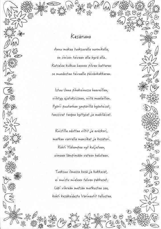 Kesäinen värityskuva ja runo, kesäruno