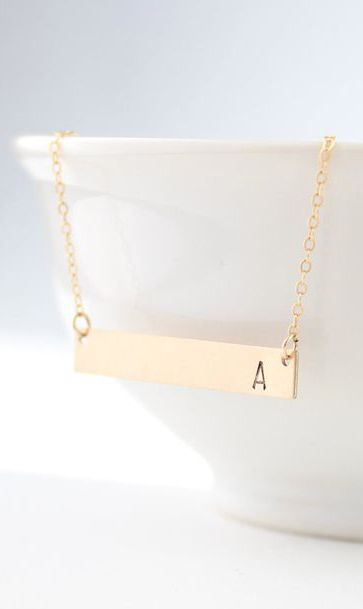 gold bar initial necklace personalized