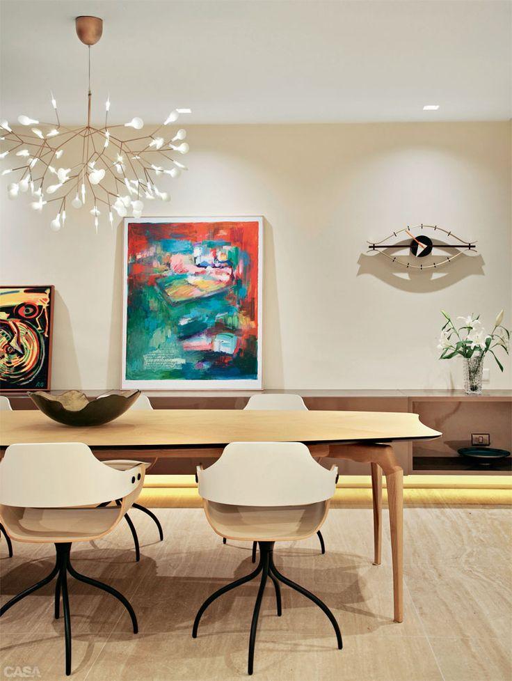 Apartamento em Ipanema / Andrea Duarte, Anna Malta e Maneco Quinderé #jantar #dining #lighting