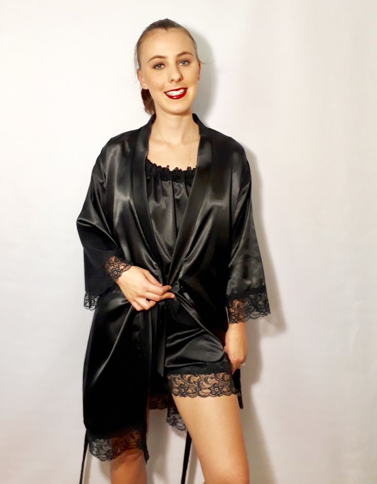 Black is Black ... Or in our case 'Ebony' ... Our beautiful range of luxurious satin Robes, French Knickers and Baby Doll tops! www.angiejcollection.com.au