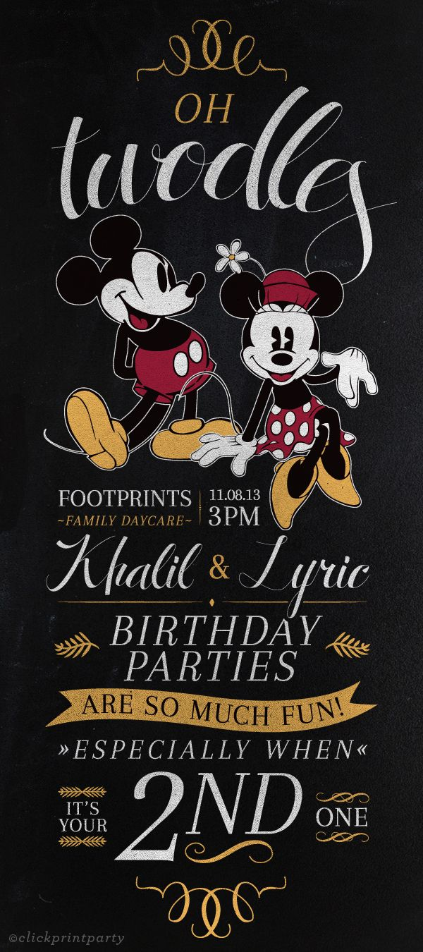DIY Vintage Mickey & Minnie Birthday Invitation