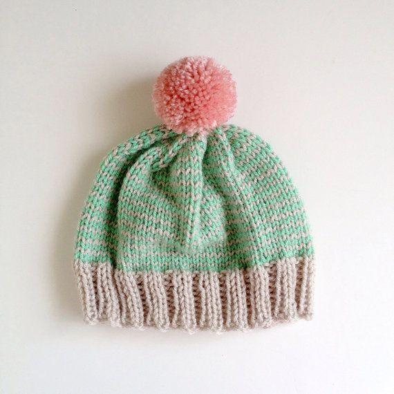 The StripeAThon Hat in Mint Bubblegum Pink by helloquiettiger, $34.00