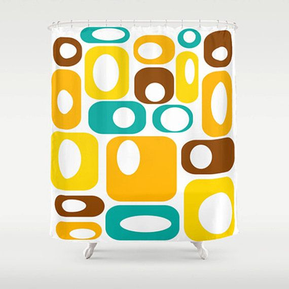 ". Our mid century modern shower curtain will make your bathroom smile.  Our curtains are print at the time of the order. 71"" x 71"". Made of 100% polyester w/ 12 stitched button holes for hanging,  rings & liner not included."