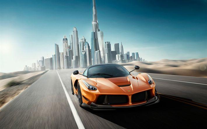 Descargar fondos de pantalla Ferrari LaFerrari, Dubai, naranja LaFerrari, supercar, coches deportivos, EMIRATOS árabes unidos, Ferrari