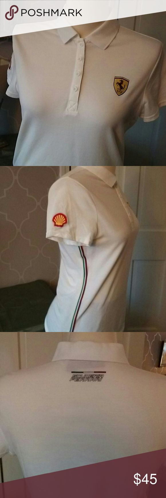 Scuderia Ferrari racing ladies Polo shirt Never worn, white Scuderia Ferrari Racing ladies Polo shirt. Size large but more like a medium, from a smoke free home Tops Tees - Short Sleeve
