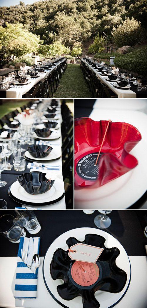 "Music inspired wedding decor with creative ""record"" plates, Viera Photographics"