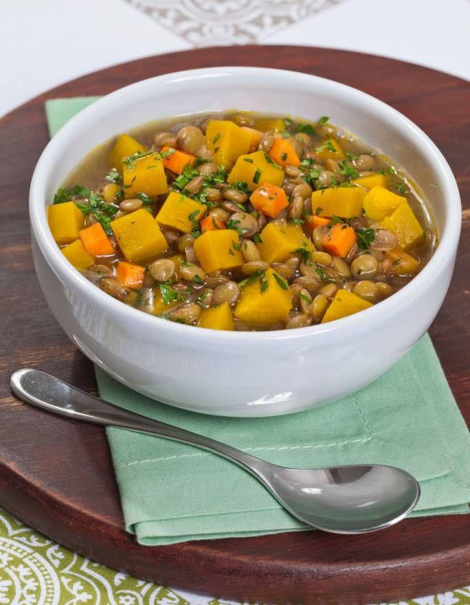 lentilha com abóbora (adicionar um curry não faria mal!)