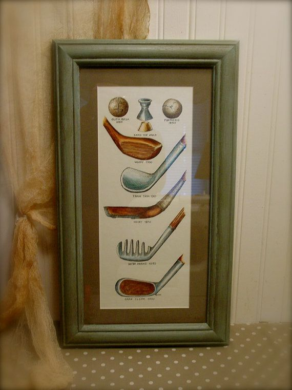 Vintage Golf Wall Art - Upcycled Duck Egg Blue - Annie Sloan Chalk Paint -  Dark Waxed