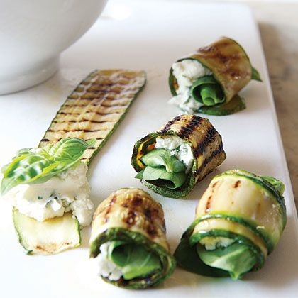 Grilled zucchini roll-ups with herbs and goat cheese  Mmm it looks so tasty!