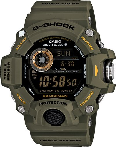 G-Shock RANGEMAN, the latest addition to the Master of G series of tough and rugged timepieces that are designed and engineered to stand up to the most grueling conditions imaginable. RANGEMAN employs a Shock Resistant Triple Sensor, which makes it capable of keeping altitude, barometric pressure, temperature and direction readings at your fingertips.