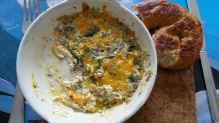 Spinach ranch cheddar dip. Can also be made with other salad. It's healthy! Serve it with homemade soft pretzels and you have dinner!