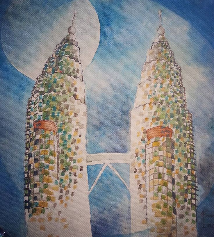 The Petronas Twin Towers seen by an artist in a totally different view. This icon of Kuala Lumpur Malaysia has always been photographed but rarely seen in a different perspective. Now with some imagination you can see them differently. . . . #kualalumpur #malaysia #art #painting #malaysiatrulyasia #travel #painting #buildings #twintowers #petronas . . .