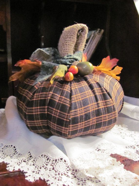 Autumn Decorating with Burlap | Fall Decor, Handmade Pumpkin, Burlap and Black and Orange Homespun ...