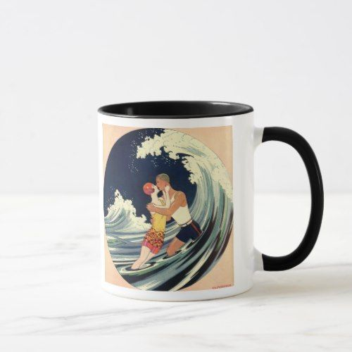 Vintage Art Deco Lovers Kiss in the Waves at Beach Mug