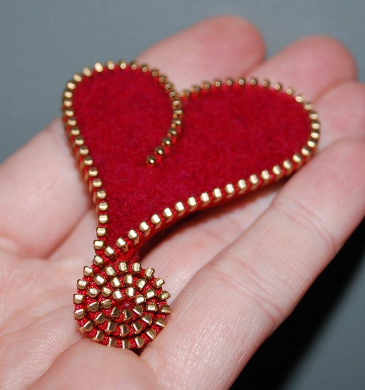 Zipper/Recycled Felted Wool Sweater Zipper Brooch/Pin- Red Asymmetrical Heart Gold Brass Zipper. $14.00, via Etsy.