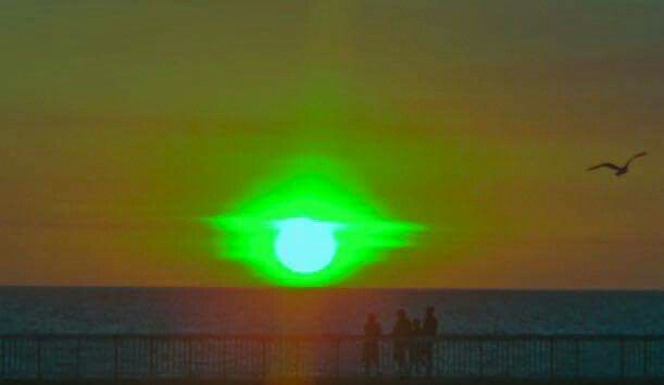 Green flash sunset. Very rare. Darwin is one of the few places they are seen.