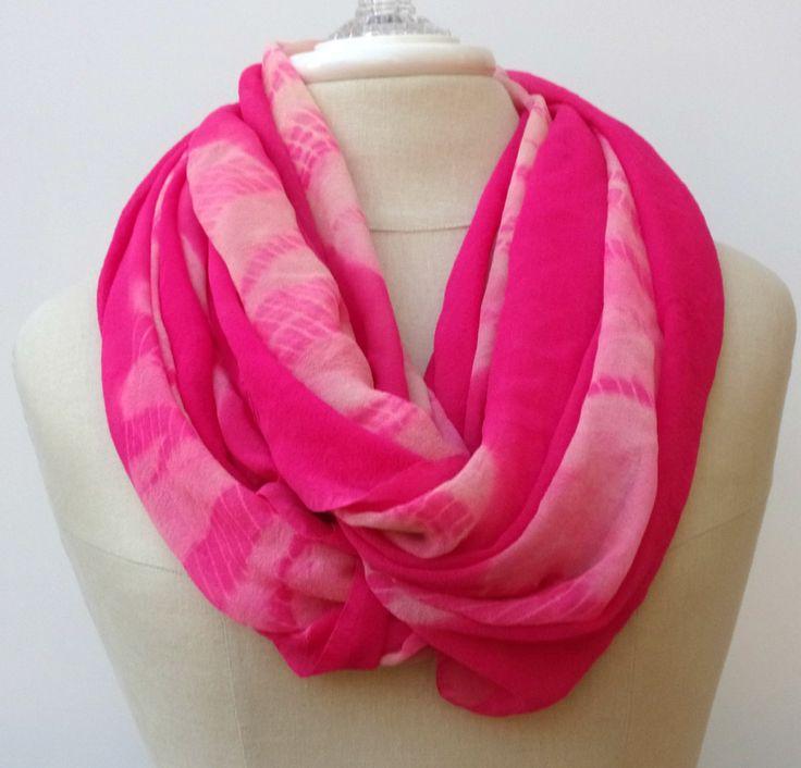 New to PurpleSageDesignz on Etsy: Pink tie dye block print Infinity Loop scarf circle handmade from Indian dupatta Eternity Ethnic hippie Boho (13.00 USD)