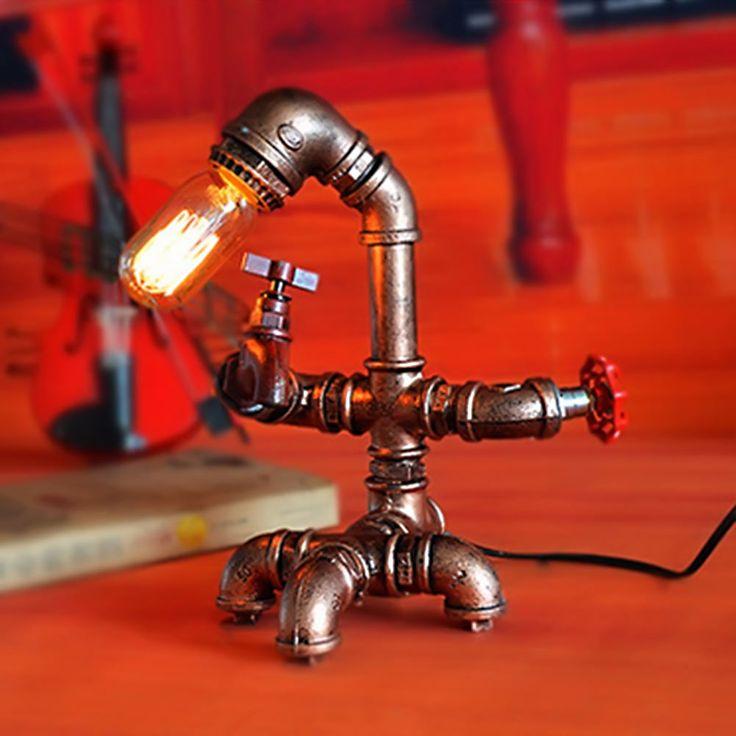 Luci retro annata E27 Edison della lampadina della lettura della Tabella Vintage personale luce tubo di acqua Lampada di notte per Home Bar Decor
