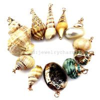 1pc Natural Ocean Sea Theme Gold plated Shell Conch Dnagle Pendant Holiday Charm