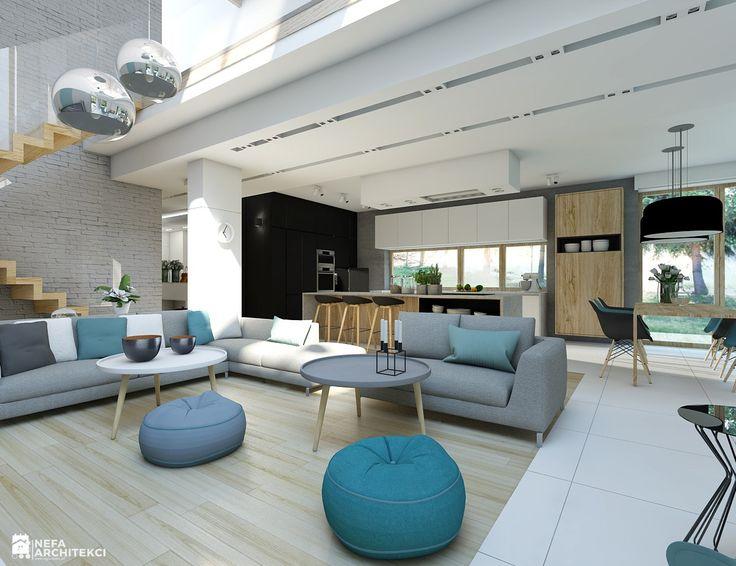 Salon - kropla koloru - zdjęcie od NEFA Architekci - Salon - Styl Skandynawski - NEFA Architekci