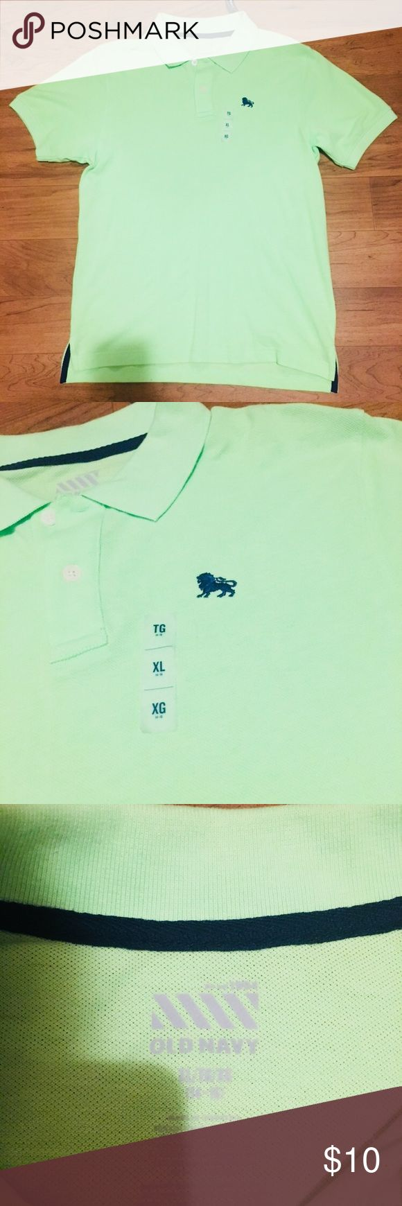 🔐Old Navy polo shirt🔐 Old Navy lime green polo shirt with blue accents!!! Never worn!!! NWT!!! Old Navy Shirts & Tops