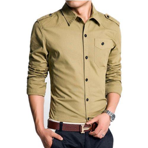 Homens moda slim dragona bolso único camisa plus size 100% algodão sólidos camisas de vestido para homens militar(China (Mainland))