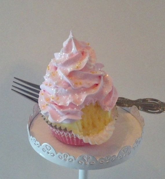 Pink and Yellow Fake Cupcake Photo Prop, Kitchen Decor, Shop Displays, Bakery Window Accents on Etsy, $11.23 AUD