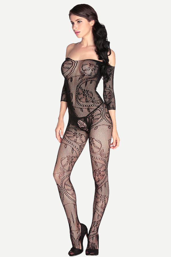 Shein Black Off The Shoulder Cutout Body Stocking