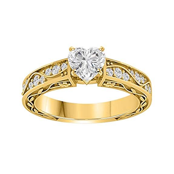 AFFY 14k Gold Over Sterling Silver Round Shape White Cubic Zirconia Bow Ring