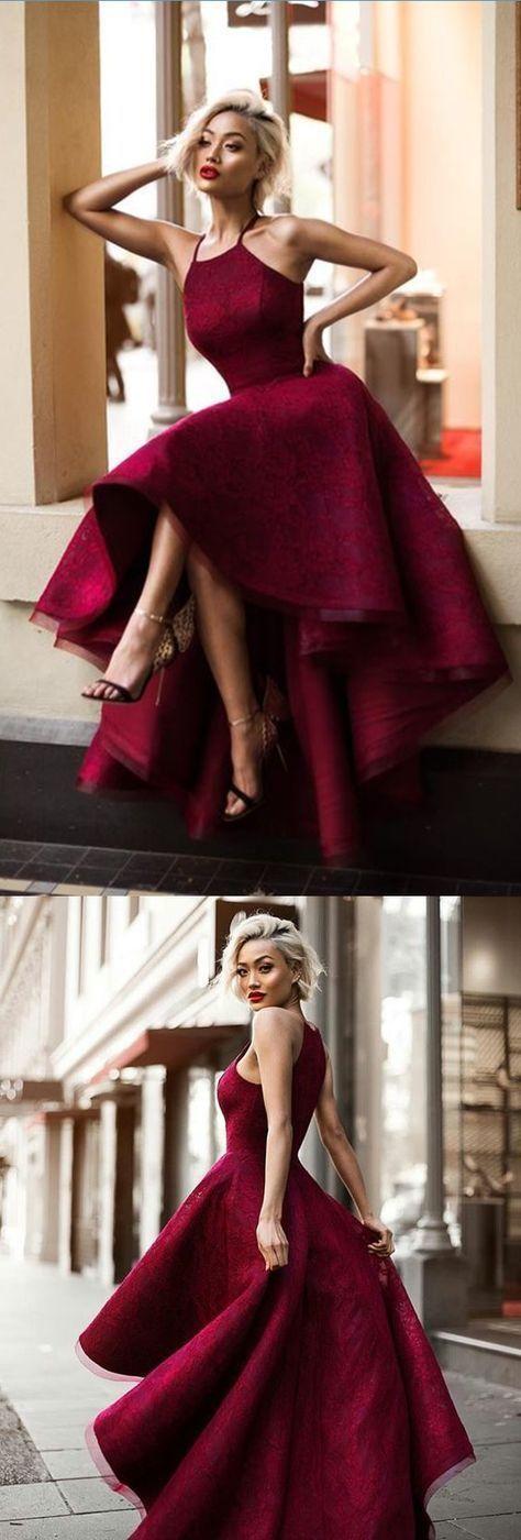 Burgundy lace prom dress, Asymmetrical long prom d…