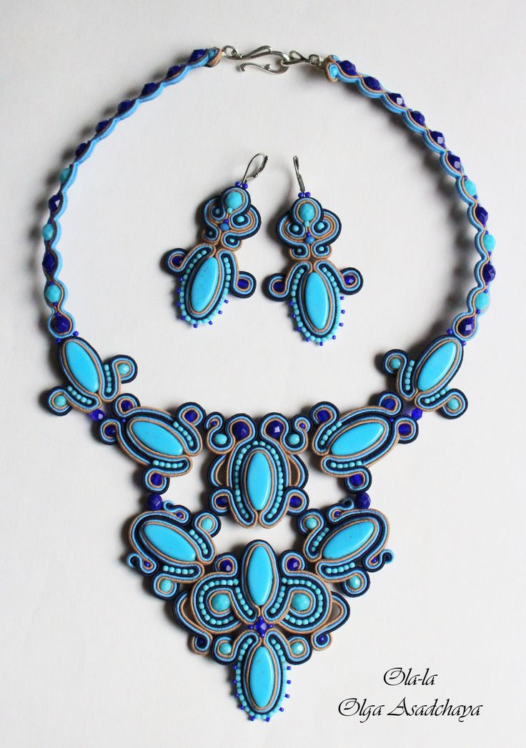 "necklaces, earrings ""Blue Lagoon"" soutache, Czech glass beads, crystal beads, Japanese beads."