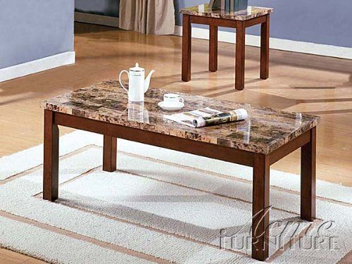 Portland Brown Pack Faux Marble Top Coffee/End Table 06787 Set By Acme