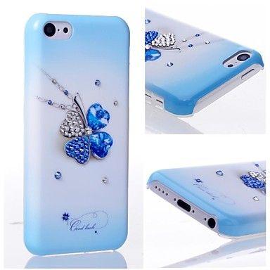 EUR € 15.34 - swarovski krystall stil med in-mold dekorasjon, fire blad kløver form vanskelig sak for iphone 5c, Gratis Frakt På Alle Gadgets!