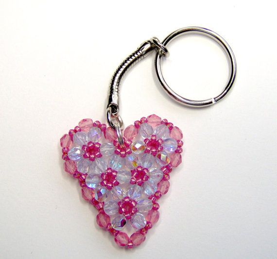 Hey, I found this really awesome Etsy listing at https://www.etsy.com/listing/164165976/pink-heart-keyring-crystal-heart-beaded