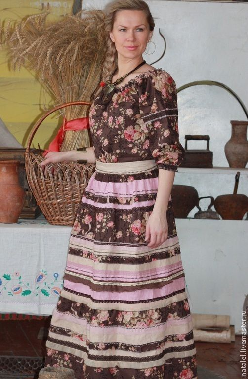 """Купить Бохо-платье или костюм """"Шоколадные розы"""" - коричневый, цветочный, удобное платье"""