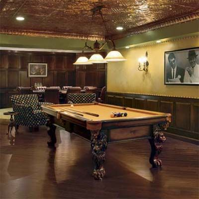 Billiard room design idea wainscoting along the wall for Basement billiard room ideas