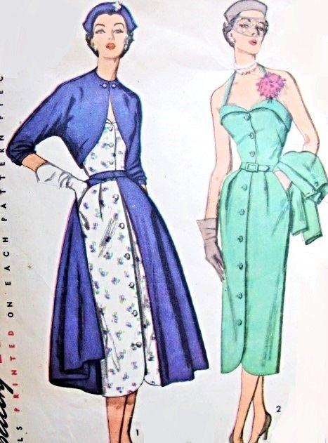 1950ハイファッションドレスボレロジャケットとオーバースカート柄のシンプル8375スリムスウィートハートネックドレスデイやパーティーカクテルドレスバスト34ヴィンテージ縫製パターン