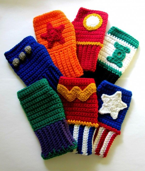 Superhero crochet wrist warmers.