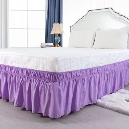 15 Inch Wrap Around Bed Skirt For Queen, Purple Queen Size Bed Skirt