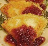 Fried Goat Cheese with Preserves Recipe - Manouri me Kythoni - Easy Quick Dessert