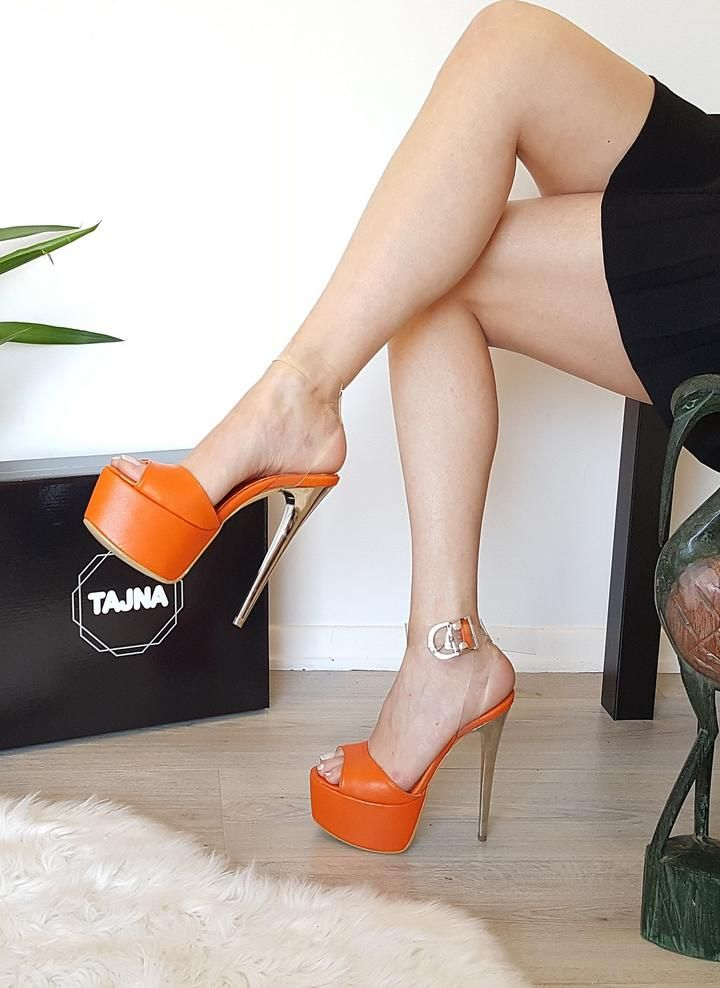 8bbeff8a50ab Orange Transparent High Heel Platform Sandals in 2019