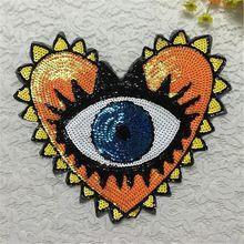 Bordados de lentejuelas 32 cm corazón del ojo parches para la ropa con él ropa bicicleta parche patchwork tela de algodón regalos de año nuevo(China (Mainland))