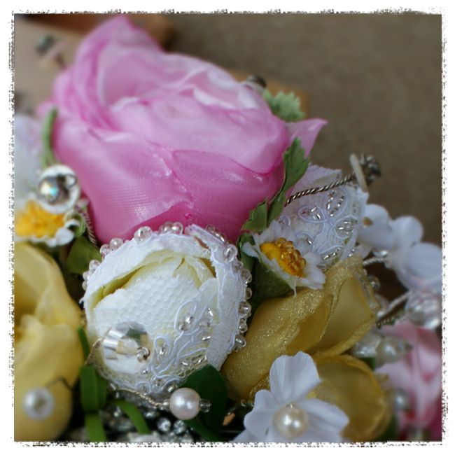 wedding bouquet for Michell - white tulips covered with bridal lace and hand beaded